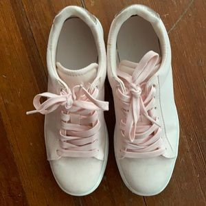 Light pink and white sneakers